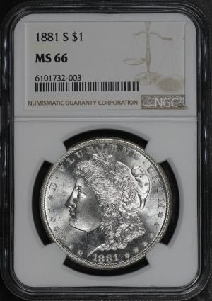 Obverse of this 1881-S Morgan Dollar NGC MS-66