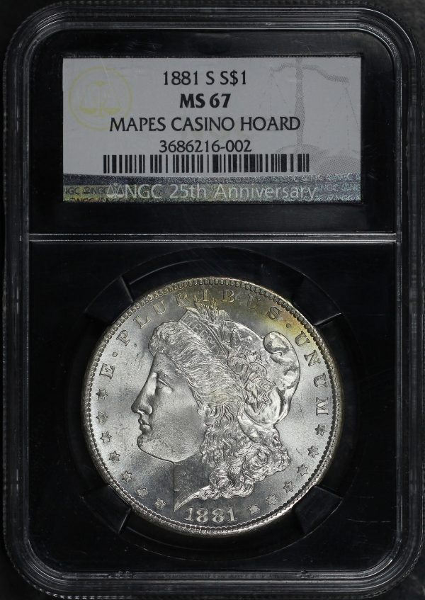 Obverse of this 1881-S Morgan Dollar NGC MS-67 Mapes Casino Hoard