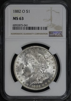 Obverse of this 1882-O Morgan Dollar NGC MS-63