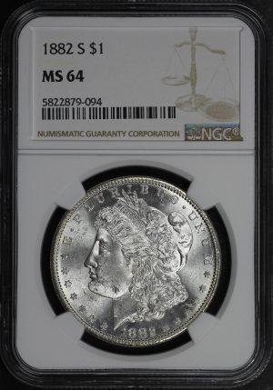 Obverse of this 1882-S Morgan Dollar NGC MS-64