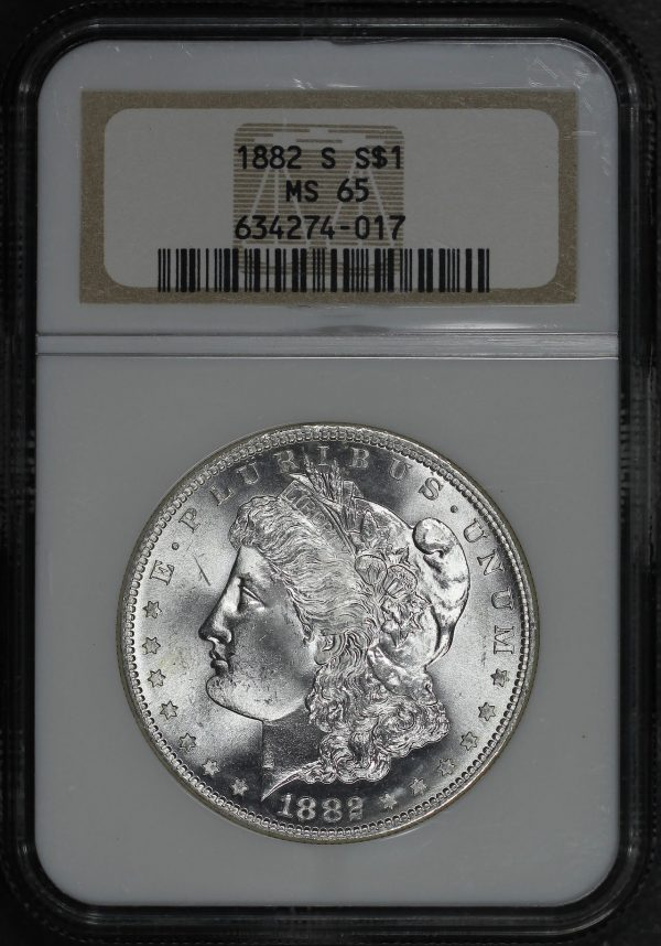 Obverse of this 1882-S Morgan Dollar NGC MS-65