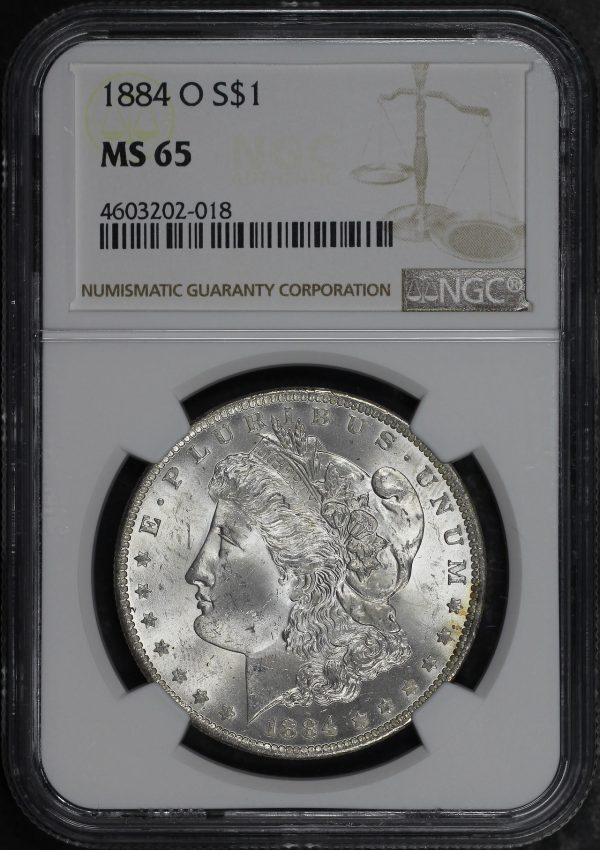 Obverse of this 1884-O Morgan Dollar NGC MS-65