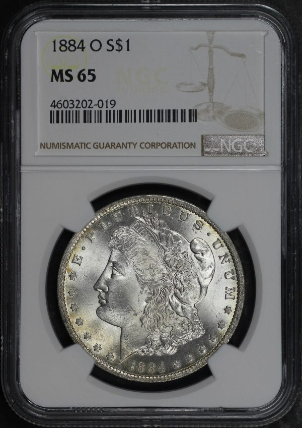 Obverse of this 1884-O Morgan Dollar NGC MS-65