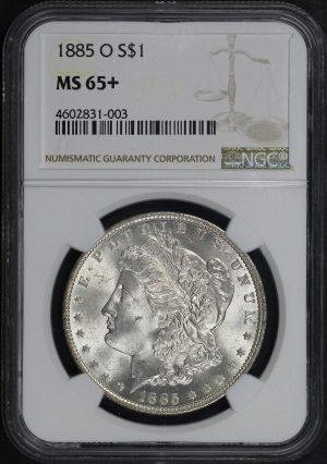 Obverse of this 1885-O Morgan Dollar NGC MS-65+