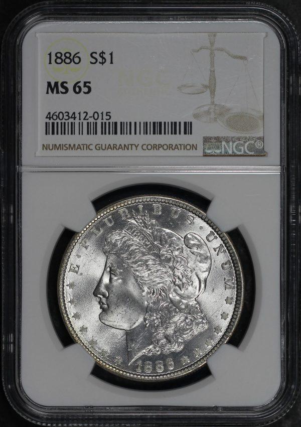 Obverse of this 1886 Morgan Dollar NGC MS-65