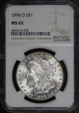Obverse of this 1898-O Morgan Dollar NGC MS-65