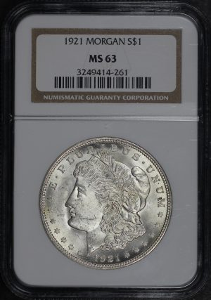 Obverse of this 1921 Morgan Dollar NGC MS-63