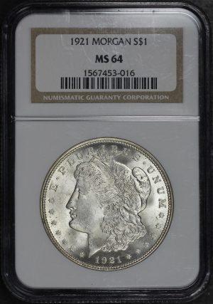 Obverse of this 1921 Morgan Dollar NGC MS-64