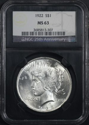 Obverse of this 1922 Peace Dollar NGC MS-63