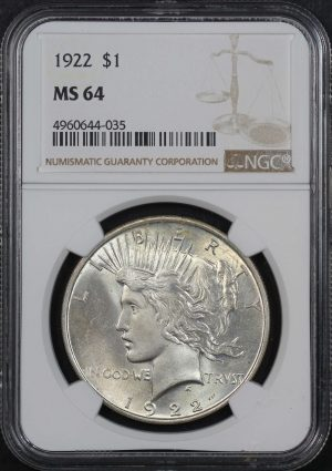 Obverse of this 1922 Peace Dollar NGC MS-64