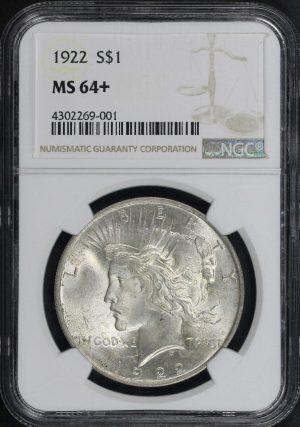 Obverse of this 1922 Peace Dollar NGC MS-64+