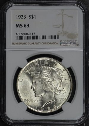 Obverse of this 1923 Peace Dollar NGC MS-63