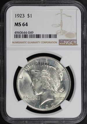 Obverse of this 1923 Peace Dollar NGC MS-64