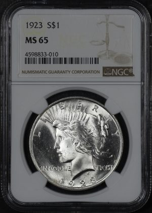 Obverse of this 1923 Peace Dollar NGC MS-65