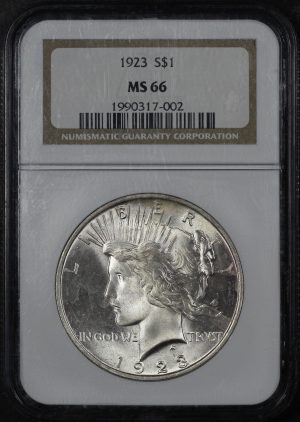 Obverse of this 1923 Peace Dollar NGC MS-66