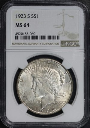 Obverse of this 1923-S Peace Dollar NGC MS-64