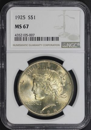 Obverse of this 1925 Peace Dollar NGC MS-67