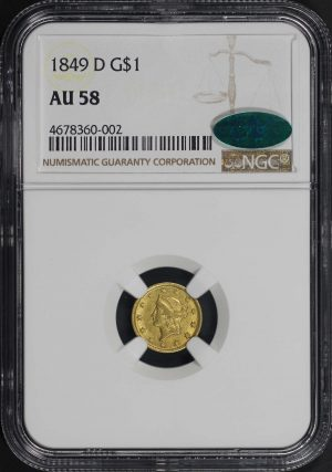 Obverse of this 1849-D  NGC AU-58 CAC