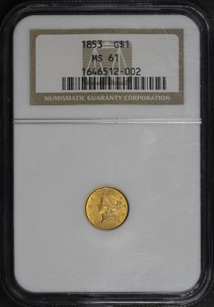 Obverse of this 1853 Gold Dollar NGC MS-61