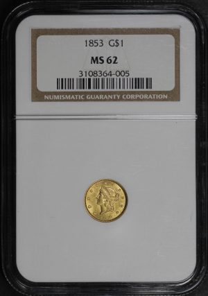 Obverse of this 1853 Gold Dollar Type 1 NGC MS-62