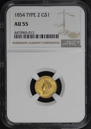 Obverse of this 1854 Type 2  NGC AU-55