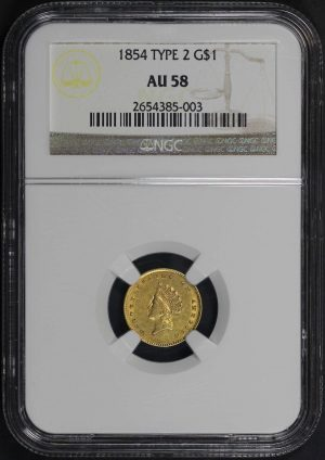 Obverse of this 1854 Gold Dollar Type 2 NGC AU-58