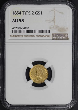 Obverse of this 1854 Type 2  NGC AU-58