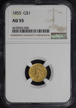 Obverse of this 1855 Gold Dollar Type 2 NGC AU-55