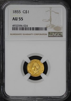 Obverse of this 1855 Gold Dollar NGC AU-55