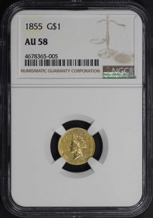Obverse of this 1855 Gold Dollar Type 2 NGC AU-58