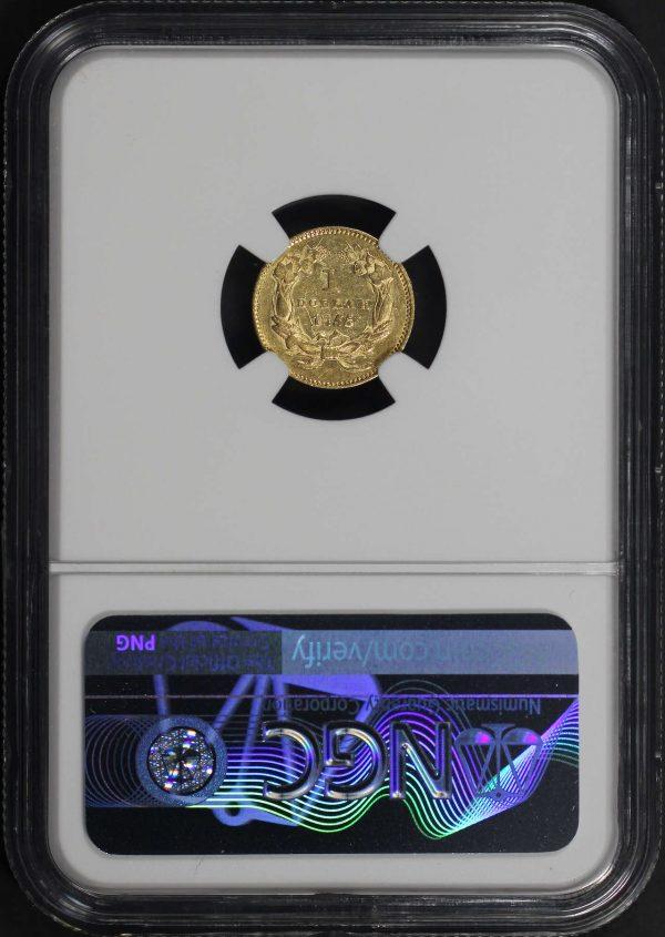Reverse of this 1855 Gold Dollar Type 2 NGC AU-58
