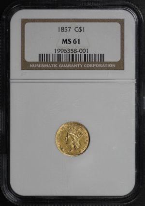 Obverse of this 1857 Gold Dollar Type 3 NGC MS-61