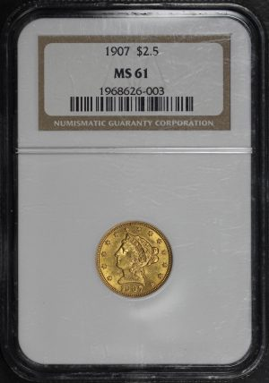 Obverse of this 1907 Liberty Head $2.5 NGC MS-61