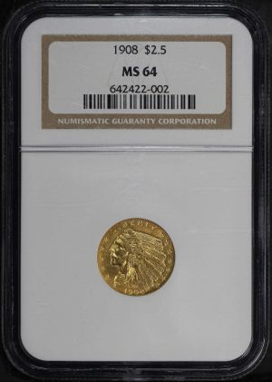 Obverse of this 1908 Indian $2.5 NGC MS-64