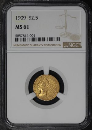 Obverse of this 1909 Indian $2.5 NGC MS-61