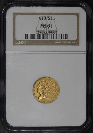 Obverse of this 1910 Indian $2.5 NGC MS-61