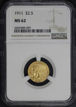 Obverse of this 1911 Indian $2.5 NGC MS-62