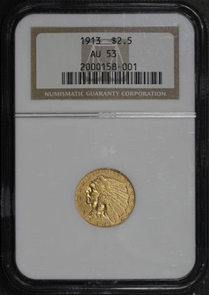 Obverse of this 1913 Indian $2.5 NGC AU-53
