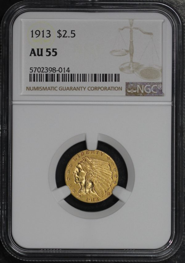 Obverse of this 1913 Indian $2.5 NGC AU-55