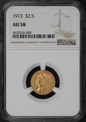 Obverse of this 1913 Indian $2.5 NGC AU-58