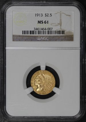 Obverse of this 1913 Indian $2.5 NGC MS-61