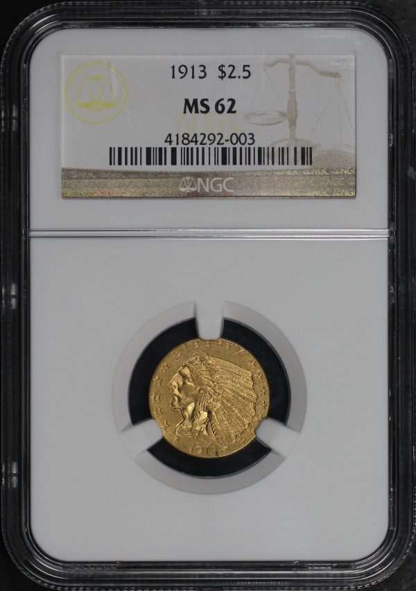 Obverse of this 1913 Indian $2.5 NGC MS-62