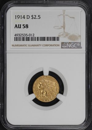 Obverse of this 1914-D Indian $2.5 NGC AU-58