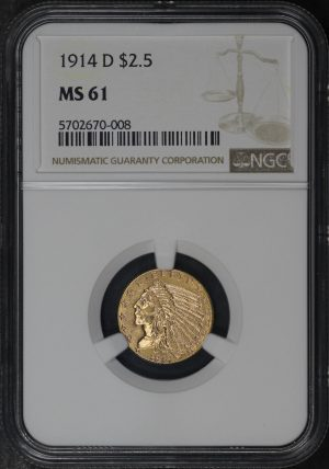 Obverse of this 1914-D Indian $2.5 NGC MS-61