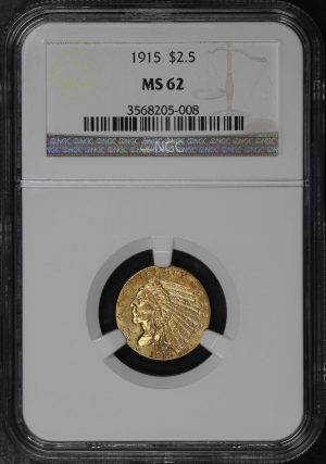 Obverse of this 1915 Indian $2.5 NGC MS-62