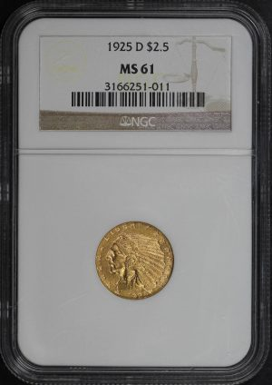 Obverse of this 1925-D Indian $2.5 NGC MS-61
