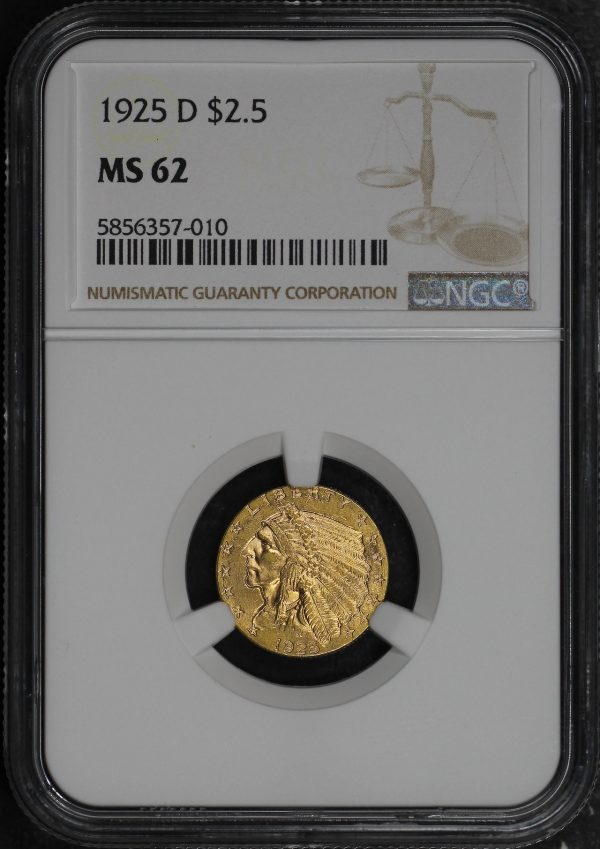 Obverse of this 1925-D Indian $2.5 NGC MS-62