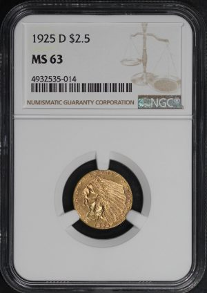 Obverse of this 1925-D Indian $2.5 NGC MS-63