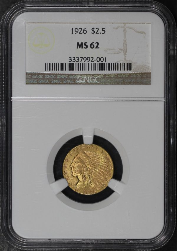 Obverse of this 1926 Indian $2.5 NGC MS-62