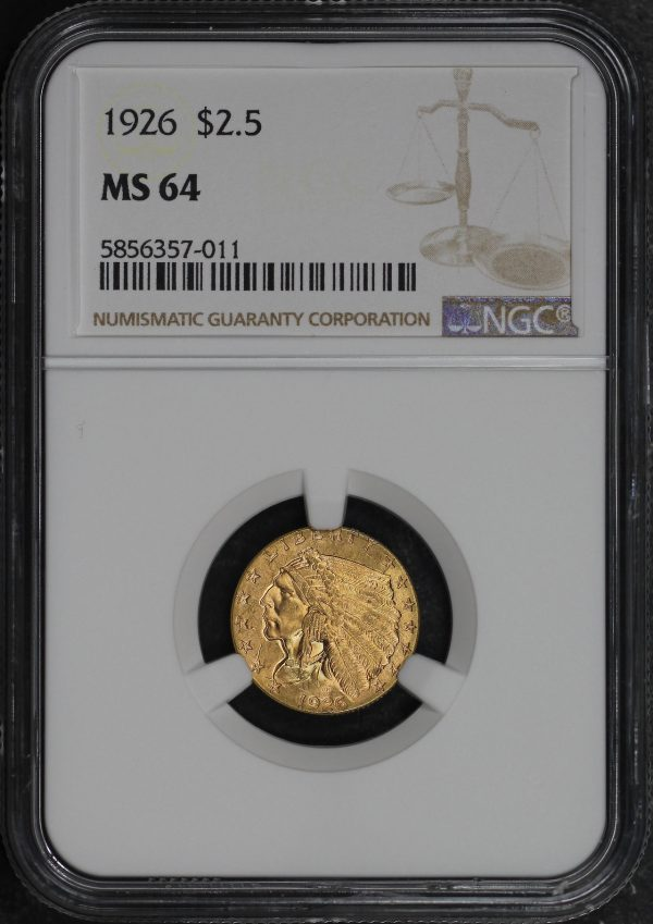 Obverse of this 1926 Indian $2.5 NGC MS-64